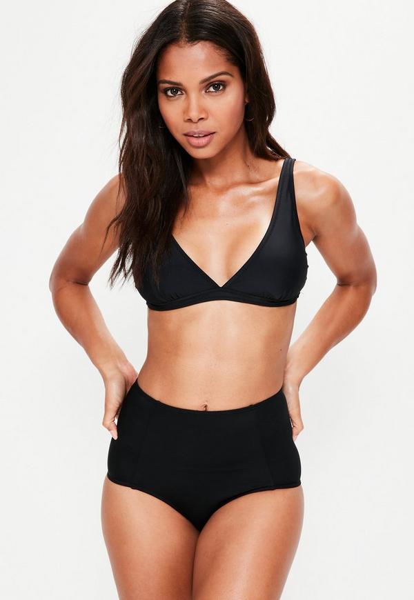 Black Sporty Triangle Bikini Top - Mix & Match