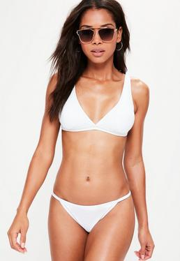 Mix and Match Sporty Triangle Bikini Top White