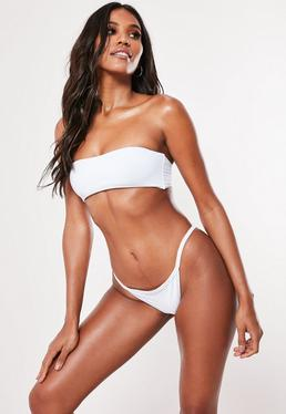 Mix and Match Skinny Tanga Bikini Bottoms White