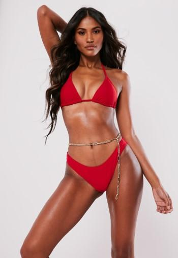Mix and Match Super High Leg Bikini Bottoms Red