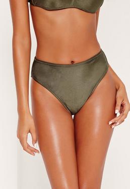 Bas de bikini vert kaki taille haute échancré