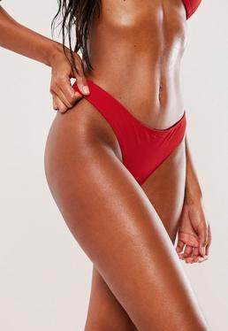 Braguitas de bikini de talle bajo estándar rojas - Mix & Match
