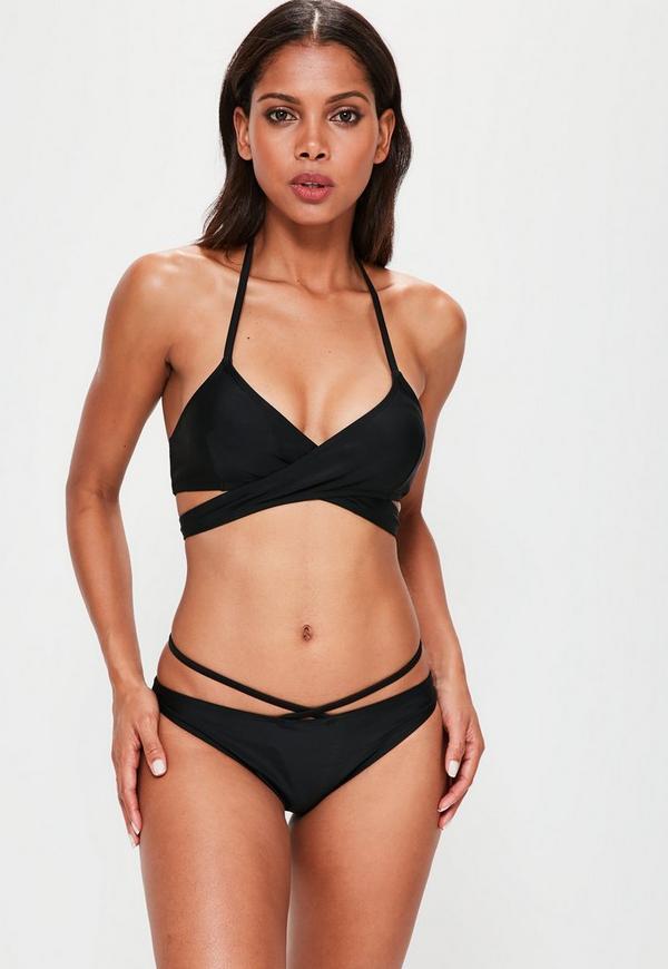 Black Strappy Crossover Bikini Set