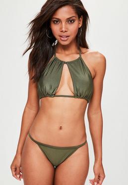 Mix and Match Gathered Open Front Bikini Top Khaki