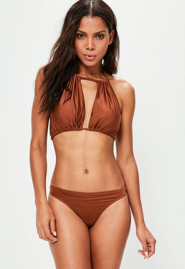 Mix and Match Gathered Open Front Bikini Top Brown