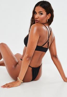 Top bikini deportivo con tirantes cruzados en negro - Mix&Match