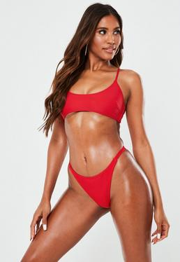 Red Sporty Cross Back Bikini Top - Mix&Match