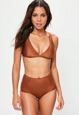 Haut de bikini triangle marron sporty