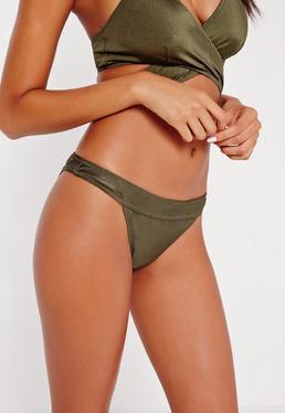 Bas de bikini taille basse vert kaki