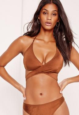 Mix and Match Cross Over Front Bikini Top Brown
