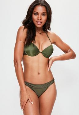 Khaki Underwired Push Up Bikini Top - Mix & Match