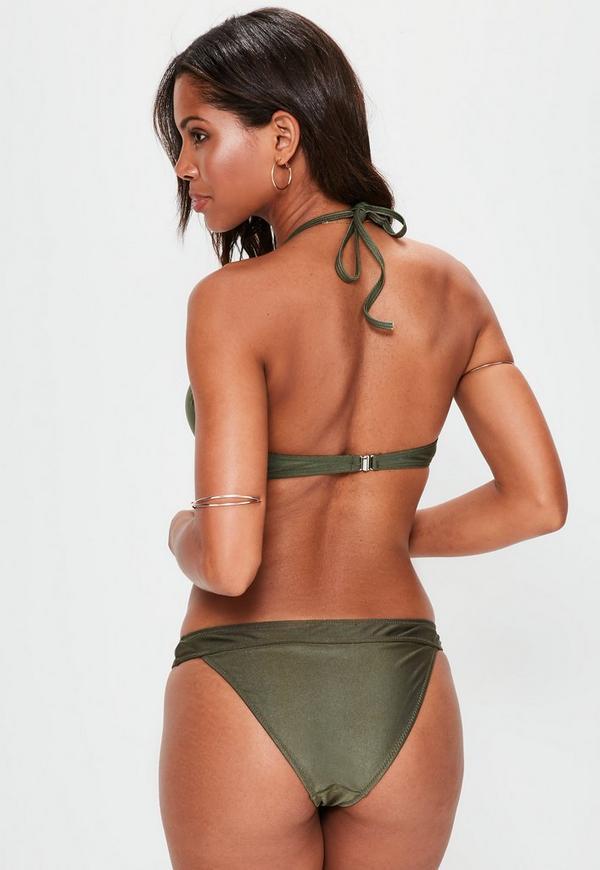 khaki underwired push up bikini top mix match missguided. Black Bedroom Furniture Sets. Home Design Ideas