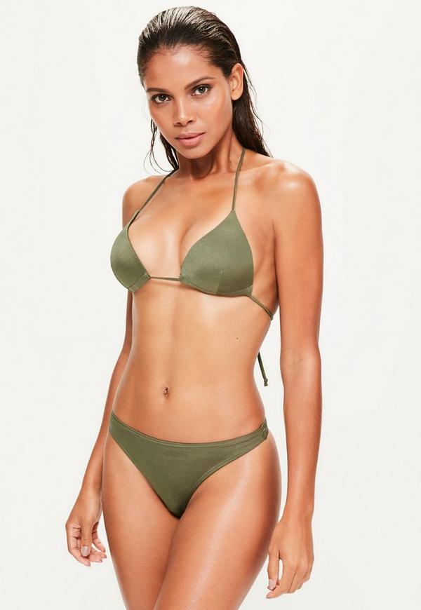 Khaki Moulded Triangle Bikini Top - Mix & Match