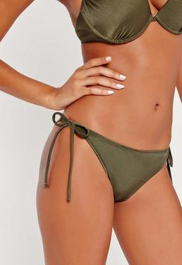 Bas de bikini vert kaki à lanières