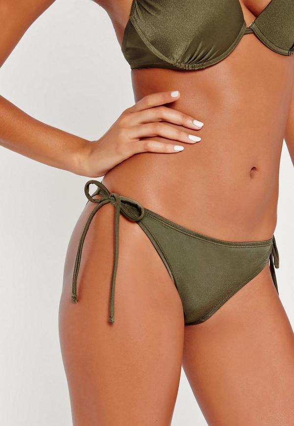 Mix and Match Tie Side Bikini Bottoms Khaki