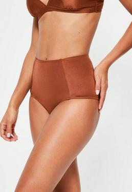 Bas de bikini taille haute marron