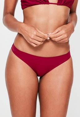 Bas de bikini bordeaux taille basse
