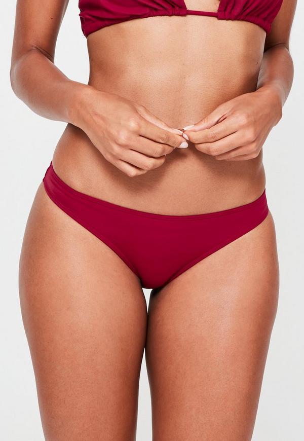 Mix and Match Regular Hipster Bikini Bottoms Burgundy