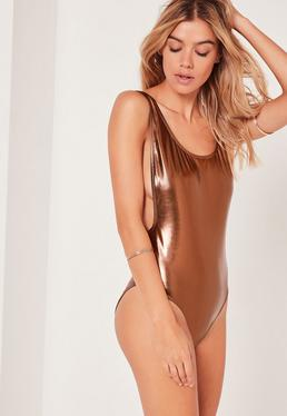 Bronze Faux Leather Low Side Swimsuit