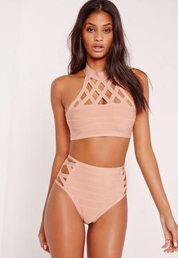 Lattice Neck Bandage Bikini Nude