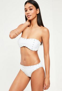 White Stud Detail Bandeau Bikini Set