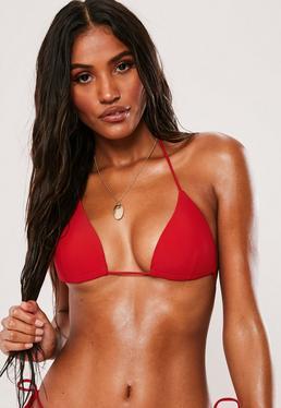 Moulded Triangle Bikini Top in Red - Mix & Match