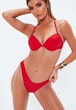 8b102266570ec Red Bikinis · Thong Bikini Bottoms · Ribbed Bikinis · Red Swimsuits