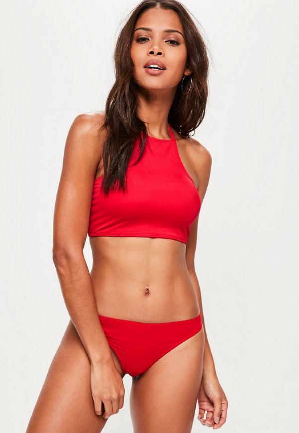 Square High Neck Bikini Top in Red - Mix & Match