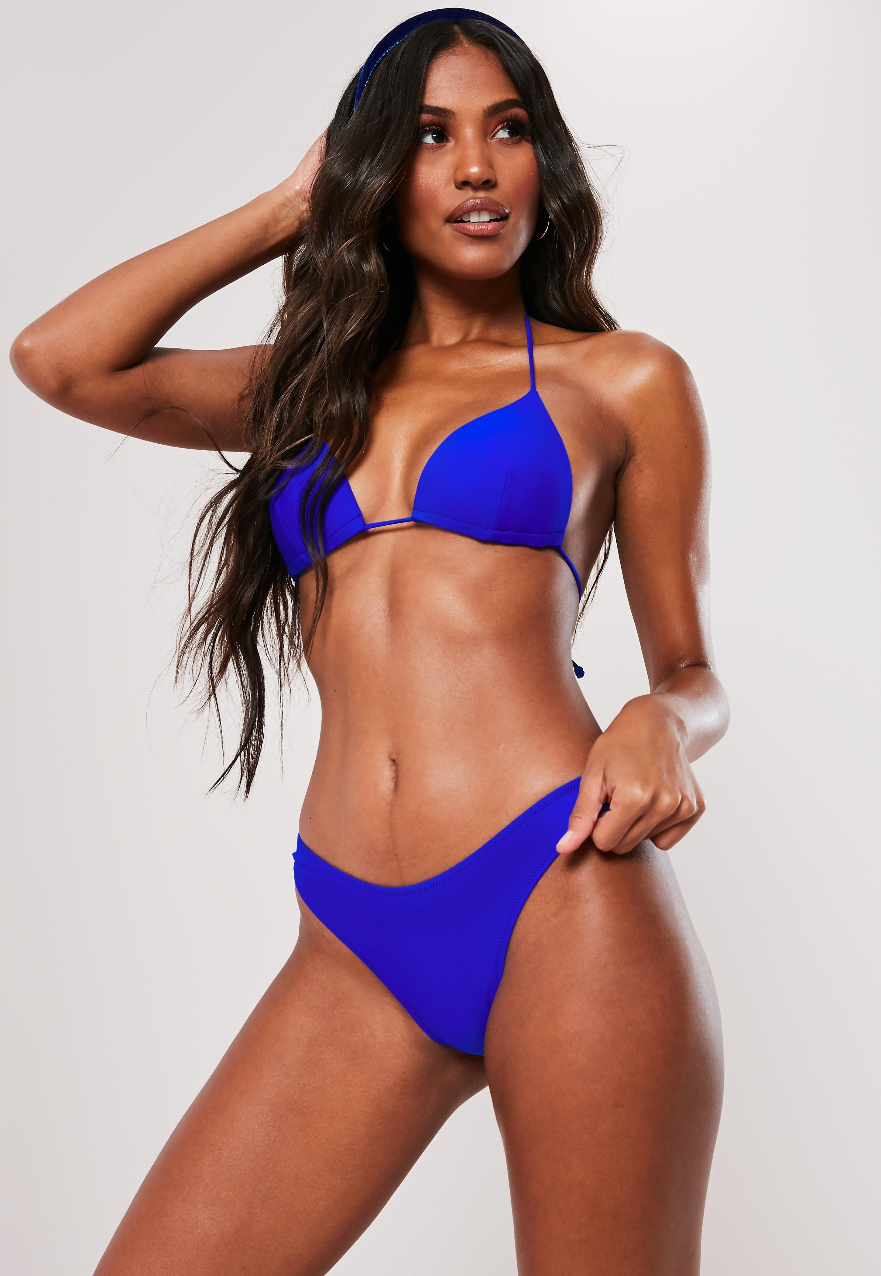 1b057a734b Blue Mix And Match Triangle Bikini Top   Missguided Ireland