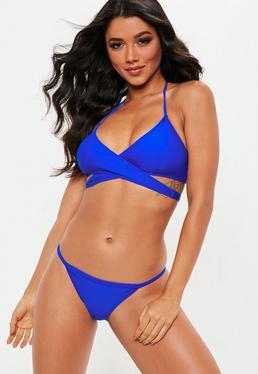 Haut de bikini bleu roi bandes croisées