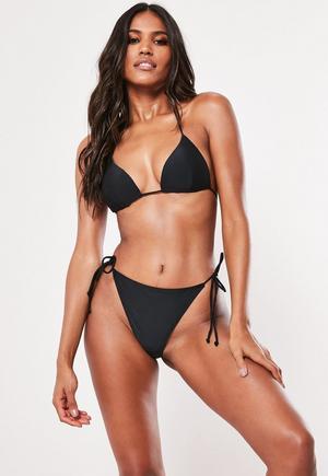 958a111c3d29f Black Mix And Match Tie Side High Leg Bikini Bottoms | Missguided