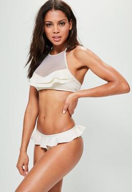 Premium White Neoprene Mesh Frill Bikini Set
