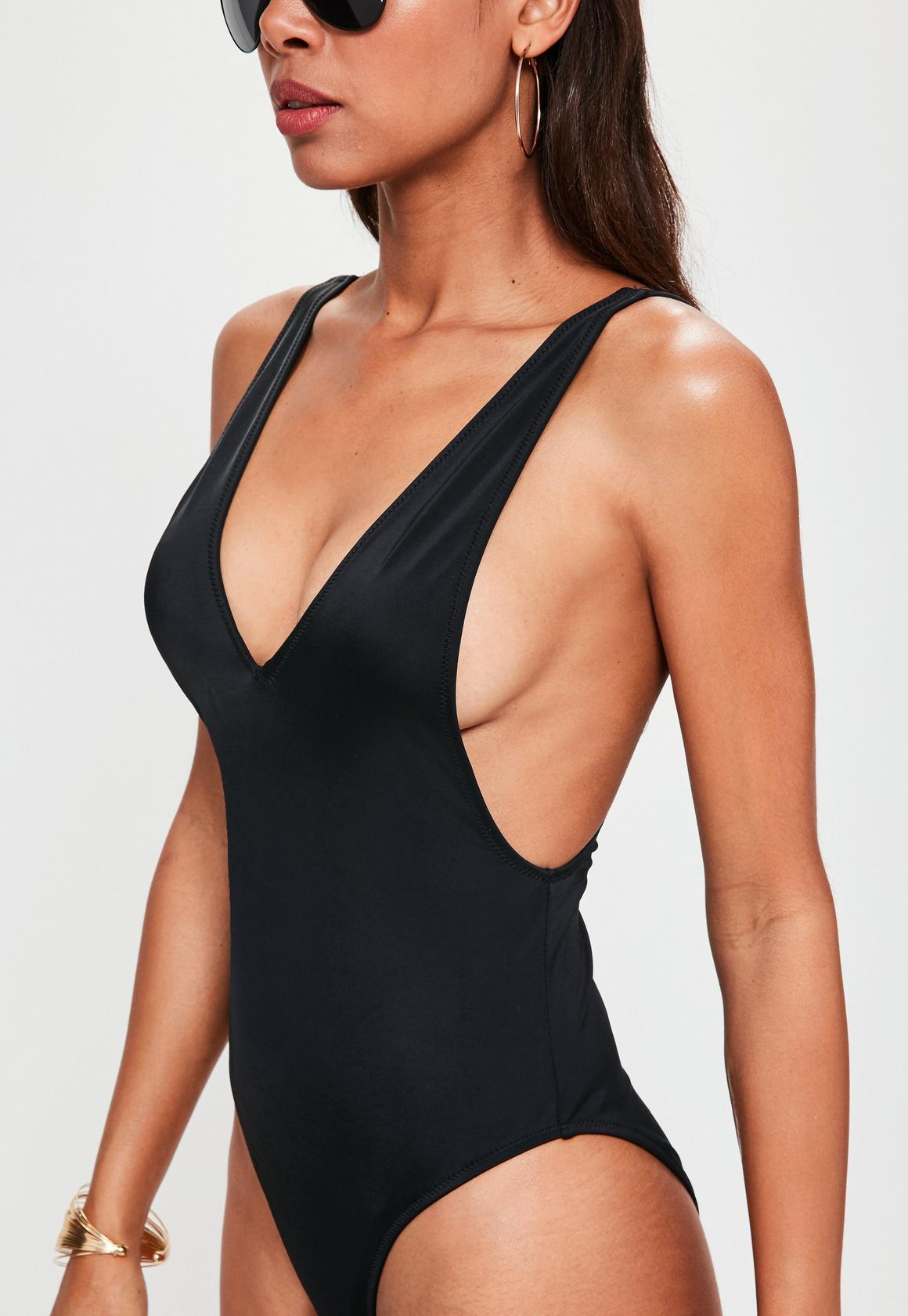 Black Ultimate Plunge Swimsuit, Black