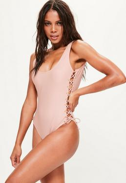Pink Lace Up Swimsuit