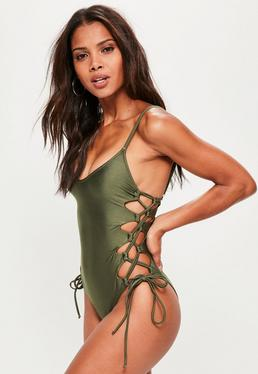 Khaki Tie Side Swimsuit
