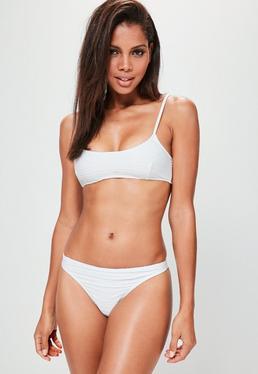 White Textured Minimal Bikini Set