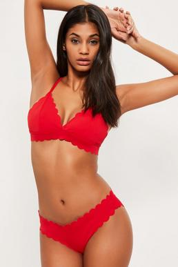 Triangel Muschel Bikini Oberteil in Rot - Mix & Match