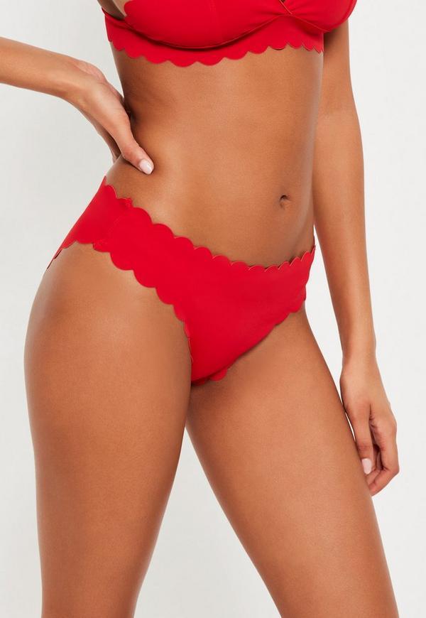 Red Scallop Hipster Bikini Bottoms - Mix & Match
