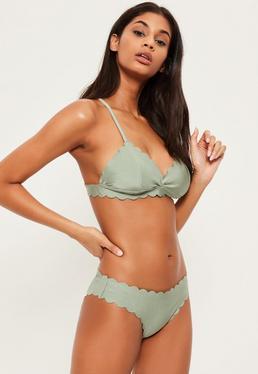 Triangel-Bikini Top mit wellenförmigem Saum in Grün - Mix & Match