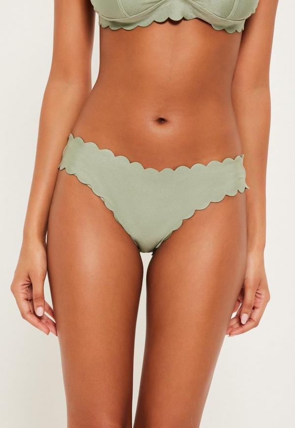 Green Scallop Hipster Bikini Bottoms - Mix & Match