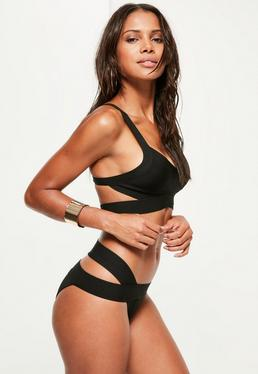 Black Bandage Crossover Bikini Set