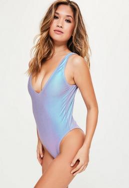 Metaliczny holograficzny jednoczęściowy strój kąpielowy