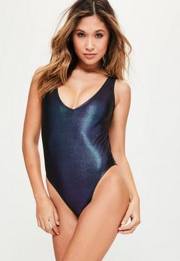 Navy Metallic Mermaid Swimsuit