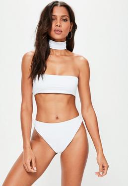 Ensemble bikini blanc ras de cou