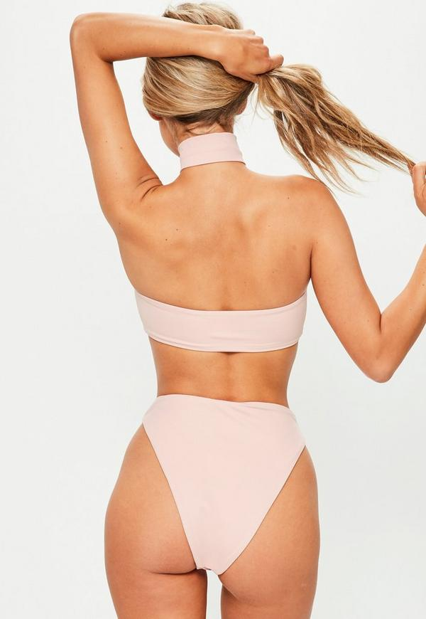 pink choker bikini set missguided. Black Bedroom Furniture Sets. Home Design Ideas