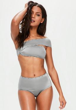 Grey One Shoulder Studded Bikini Set