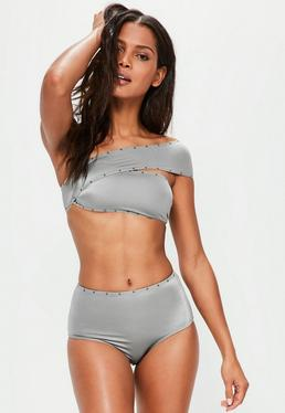 Grey One Shoulder Studded Bikini Set