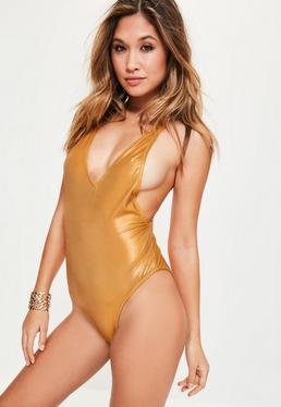 Maillot de bain doré décolleté plongeant