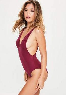 Burgundy Ultimate Plunge Swimsuit