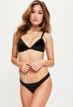 Black Velvet Triangle Bikini Set